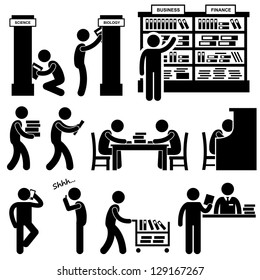 Library Librarian Bookstore People Student Stick Figure Pictogram Icon