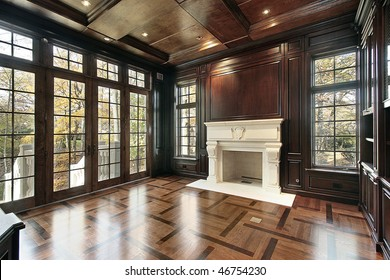 Library in new construction home with floor design