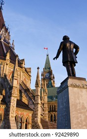 The Library, Peace Tower and statue of Thomas D'arcy McGee on Parliament Hill in Ottawa Canada.