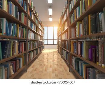 Library stacks of books and bookshelf. 3d illustration