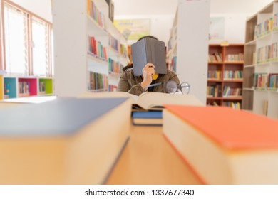 In the library - Study student hard library difficult read bored