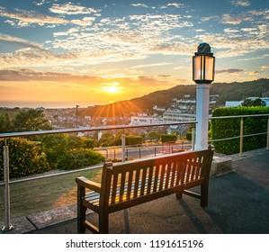 library sunset aberystwyth