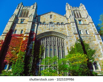 Library of the University of Michigan, Ann Arbor, USA. Beautiful stone building against the blue sky.
