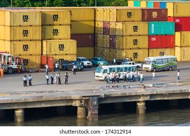LIBREVILLE, GABON - MAR 6, 2013: Port of Libreville, Gabon. Port of Libreville is a trade center for a timber region.