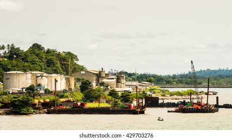 LIBREVILLE, GABON - MAR 6, 2013: Port of Libreville, Gabon. Port of Libreville is a trade center for a timber region.