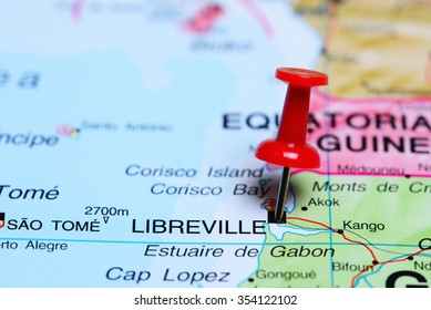 Libreville pinned on a map of Africa