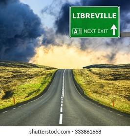 LIBREVILLE road sign against clear blue sky