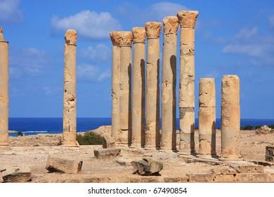 Libya, Cyrenaica. Ptolomais Greek, Roman and Byzantine archaeological site.