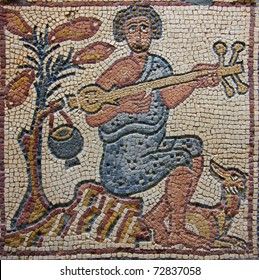 Libya Cyrenaica Qsar Ancient well preserved Byzantine mosaic depicting a musician