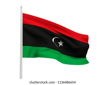 Libya flag floating in the wind with a White sky background. 3D illustration.