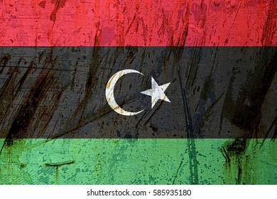 Libya flag on plate