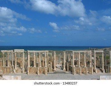 Libya. Leptis Magna. Theatre - stage and orders of Corinthian columns.