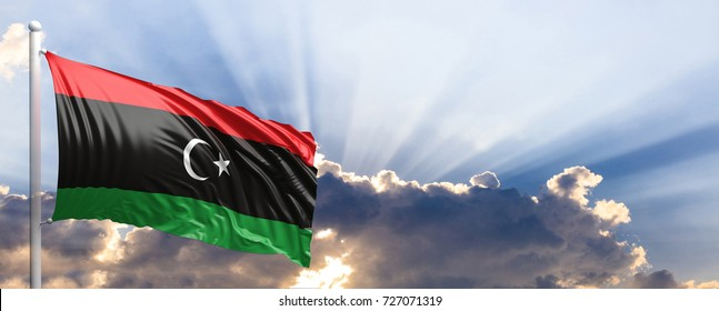 Libya waving flag on blue sky. 3d illustration