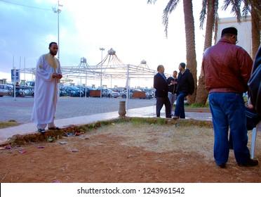 Libyans discuss the coming changes and the regime of Muammar Gaddafi. The Arab Spring in Libya begins. April 6, 2011, Benghazi, Libya.