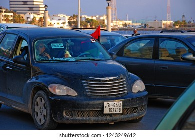 Libyans have come up against the regime of Muammar Gaddafi. The flag of their car is a symbol of the Arab Spring in Libya. April 6, 2011, Benghazi, Libya.