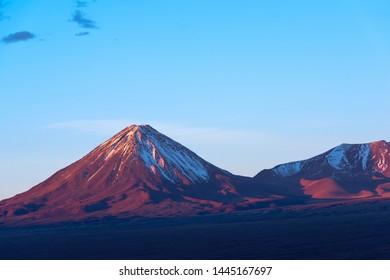 Licancabur volcano at sunset, San Pedro de Atacama, Atacama desert, Chile, South America