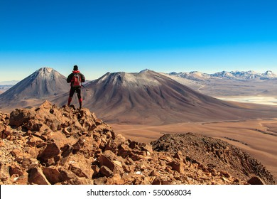 "Licancabur volcano from the ""Toco"" hill. San Pedro de Atacama, Chile."