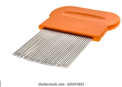 Lice comb for home removing lice treatment isolated on white. Metal tooth comb for lice and nits removing procedure.