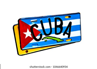 License plate with cuba flag isolated on white background