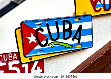 License plate with cuba flag at souvenir shop in Havana, Cuba.