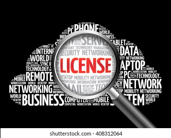 LICENSE word cloud with magnifying glass, business concept