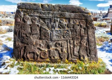 Lichen- and moss-encrusted khachkars (khatchkars, or cross-stones) at Noratus (Noraduz) Cemetery, Noratus (Noraduz), Armenia