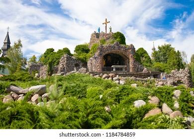 Lichen / Poland - 07.08.2018: Basilica of Our Lady of Lichen, the biggest catholic church in Poland. Pilgrimage village.