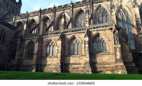 Lichfield Cathedral. Gothic architecture with arched windows.