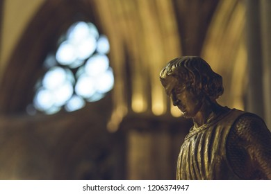 Lichfield, England - Oct 15, 2018: Interiors of Lichfield Cathedral - Statue of St George close up