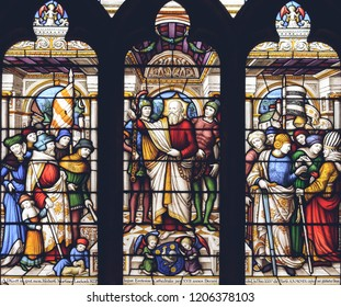 Lichfield, England - Oct 15, 2018: Interiors of Lichfield Cathedral - Stained Glass Nave H Close up