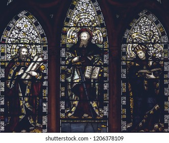 Lichfield, England - Oct 15, 2018: Interiors of Lichfield Cathedral - Stained Glass Nave G Close up