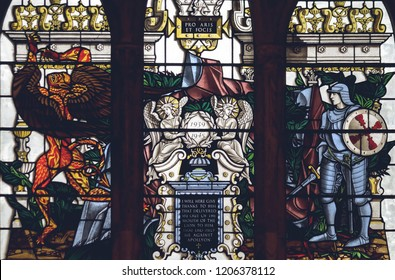 Lichfield, England - Oct 15, 2018: Interiors of Lichfield Cathedral - Stained Glass Nave F Close up