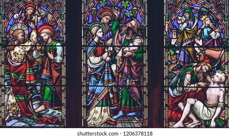 Lichfield, England - Oct 15, 2018: Interiors of Lichfield Cathedral - Stained Glass Nave E Close up