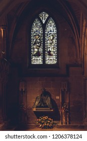 Lichfield, England - Oct 15, 2018: Interiors of Lichfield Cathedral - Vestibule - Link between main Cathedral and Chapter House, Bishop Wood's Memorial