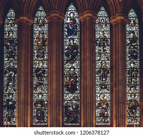 Lichfield, England - Oct 15, 2018: Interiors of Lichfield Cathedral - Stained Glass in North Transept A