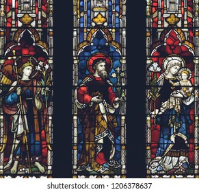 Lichfield, England - Oct 15, 2018: Interiors of Lichfield Cathedral - Stained Glass West End Close up Left Side
