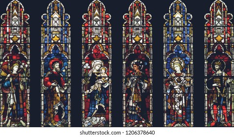Lichfield, England - Oct 15, 2018: Interiors of Lichfield Cathedral - Stained Glass West End Close up