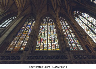 Lichfield, England - Oct 15, 2018: Interiors of Lichfield Cathedral - Lady Chapel Stained Glass North Side 5-4-3