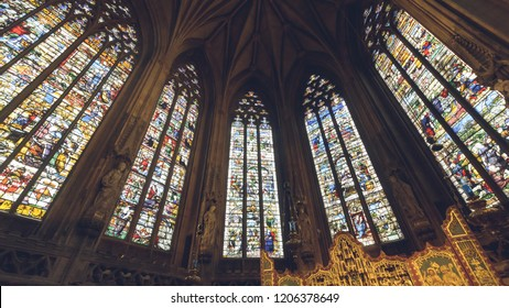 Lichfield, England - Oct 15, 2018: Interiors of Lichfield Cathedral - Lady Chapel Stained Glass North Side 3-2-center