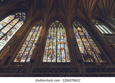 Lichfield, England - Oct 15, 2018: Interiors of Lichfield Cathedral - Lady Chapel Stained Glass South Side 3-4-5