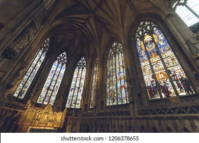 Lichfield, England - Oct 15, 2018: Interiors of Lichfield Cathedral - Lady Chapel Stained Glass South Side