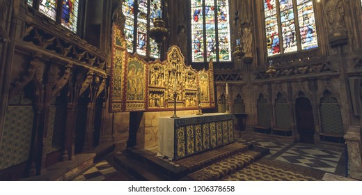 Lichfield, England - Oct 15, 2018: Interiors of Lichfield Cathedral - Lady Chapel Altar - Left Side
