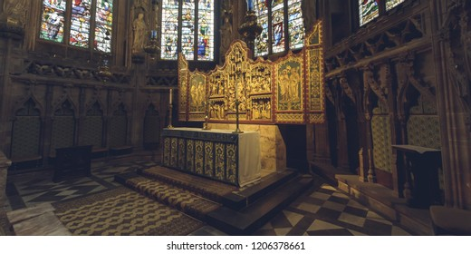 Lichfield, England - Oct 15, 2018: Interiors of Lichfield Cathedral - Lady Chapel Altar - Right Side