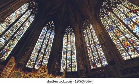 Lichfield, England - Oct 15, 2018: Interiors of Lichfield Cathedral - Lady Chapel Stained Glass South Side center-2-3