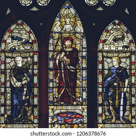 Lichfield, England - Oct 15, 2018: Interiors of Lichfield Cathedral - Stained Glass Nave D Closeup