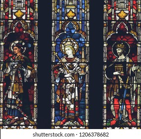 Lichfield, England - Oct 15, 2018: Interiors of Lichfield Cathedral - Stained Glass West End Close up Right Side
