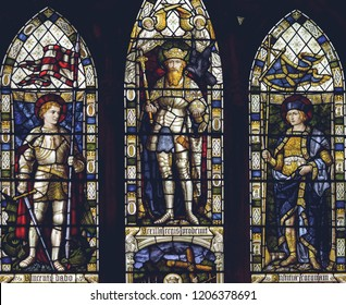 Lichfield, England - Oct 15, 2018: Interiors of Lichfield Cathedral - Stained Glass Nave B Close up
