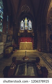 Lichfield, England - Oct 15, 2018: Interiors of Lichfield Cathedral - Military Chapel of St Michael in South Transept