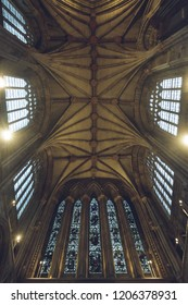 Lichfield, England - Oct 15, 2018: Interiors of Lichfield Cathedral - Ceiling in North Transept
