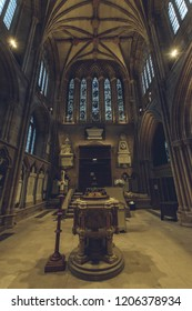 Lichfield, England - Oct 15, 2018: Interiors of Lichfield Cathedral - Font and North Transept